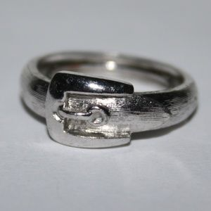Silver Avon Belt Buckle ring Adjustable ring